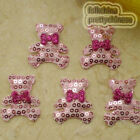 Pink Cute Bear Sequin Appliques Padded Craft Sewing Scrapbooking Trim XHCT