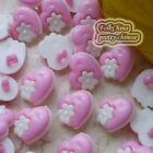Pink Heart Flower 15mm Plastic Buttons Sewing Scrapbooking Collectable Craft