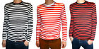 MENS NEW longsleeve stripey t-shirt xs s m l xl indie mod nautical vtg preppy