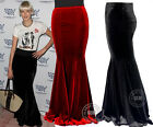 "39"" Length Womens Velvet Long Fishtail Pencil Skirt Mermaid Party Evening Dress"