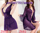 Sexy See-through Lingerie Mesh Babydoll Pajamas Gown G-string T-back Purple XS-S