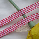 50 Yds/Roll Red Gingham Scotish Ribbons 6mm,10mm,15mm,18mm,24mm E1-5