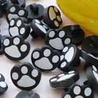 Black Paw Wood Buttons 16mm Sewing Craft Scrapbooking CWB008