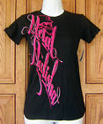 Metal Mulisha Pink Scroll Name White Outline Tattoo Motocross Black T Shirt