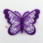 Purple Butterfly Paillette Sequin Iron On Patch 7cm M0034