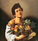 Boy with a Basket of Fruit Picture Reproduction Art Print A4 A3 A2 A1
