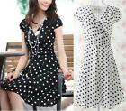 Elegant women formal work casual party polka dot shaped body pleated tunic dress