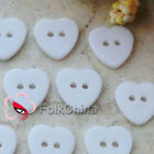 White heart Shape 2 Holes 15mm Plastic Buttons Sewing Scrapbooking Craft FBY010
