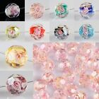 BULK FACETED MURANO LAMPWORK GLASS AB CRYSTAL W/ FLOWER ROSE LOOSE BEADS FINDING