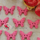 Pink New Butterfly 22mm Wood Buttons Sewing Scrapbooking Craft NCB035