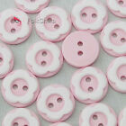 Pink 2 Holes 12mm Flower Plastic Buttons Sewing Craft Scrapbooking PCB-A10