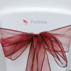Wine Organza Chair Cover Bow Sash Wedding Decor Banquet WED-OCS-39