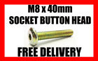 M8 x 40mm SOCKET BUTTON HEX BOLT ALLEN HEAD BOLTS GOLD ZINC VARIOUS QUANTITY