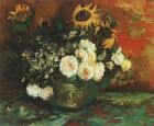 Pot Sunflowers, Roses & Others Van Gogh VG282 Repro Art Print Canvas A4 A3 A2 A1