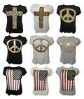 NEW LADIES PLUS SIZE GRAPHIC PRINTED TEE SHIRTS SUMMER STRETCH T-SHIRT TOPS16-26
