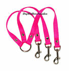 """hot pink 3 way dog puppy coupler lead small medium 5/8"""" various colours"""