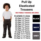 Age 1-13 Boys Pull Up School Trousers Elasticated Black Grey Navy Teflon