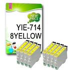 8 PACK Yellow T0714 TO714 NON-OEM Ink Cartridges Replace For Stylus Printers
