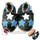 Soft Leather Baby Shoes 0-6,6-12,12-18,18-24 Months Star Black KDS-GSO-M