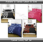Luxurious Chelsea Navy, Red, Black, Pink all Sizes Quilt Duvet Cover Set New