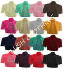 WOMENS SHRUG BOLERO CARDIGAN CROCHET KNIT KNITTED CROP CROPPED TOP-8,10,12,14