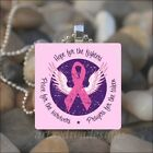 BREAST CANCER AWARENESS PINK RIBBON ANGEL WINGS GLASS PENDANT NECKLACE KEYRING