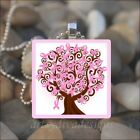 BREAST CANCER AWARENESS PINK RIBBON TREE GLASS TILE PENDANT NECKLACE KEYRING