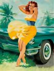 Vintage Pin-Up Yellow Dress William Medcalf PINUP587 Print A4 A3 A2 A1
