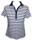 Captain Corsaire Ladies Short Sleeved Striped Collared T-shirt in White & Navy