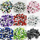 1000 Crystal Rhinestone Silver Flat Back Diamante Acrylic Gems 1 3 4 5 6 8 10mm