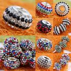 Mixed Crystal Rhinestone Disco Resin Rondelle European Bracelet Beads For Charms