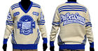 Phi Beta Sigma Long Sleeve V neck Sweater White Blue V neck Fraternity Sweater