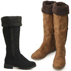 New Womens Fashion Knee High Winter Snow Boots Shoes Low Heels