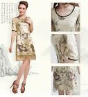 NEW Elegant Silk Dress Short Sleeve Embroidered Silk Dress Evening Dress #3231