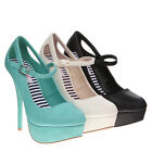 TheMOGAN SHOES Ankle Strap PLATFORM PUMPS Cut Out Rounded Toe High Heel Stiletto