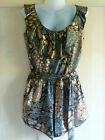Miso Animal Foil Print Ruffle Neck Playsuit Sizes 8 10 12 RRP £30 Stunning!