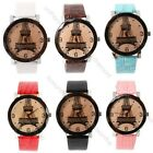 New Multi colors Faux Leather Paris Eiffel Tower Pattern women's quartz watch