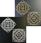 ANT BRONZE OR SILVER TONE SQUARE LIGHTWEIGHT THIN BRASS FILIGREE STAMPINGS 28mm