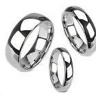 Tungsten Carbide Silver White Polish Dome Band Mens Women's Wedding Ring