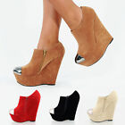 WOMENS LADIES FASHION PLATFORM WEDGES EXCLUSIVE! NEW METAL TOE CAP FOR SIZES 3-8