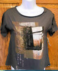 HURLEY WALK IN THE RAYS OF THE BEAUTIFUL SUN BROWN SCOOP NECK TEE T SHIRT NEW F