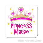 Princess Crown Pink Personalised Wooden Gift Coaster Present Birthday Christmas