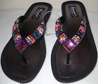 GRANDCO SANDALS Beach Pool THONG BLING Black Frosted & JEWELED DRESSY Flip Flops