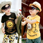 2017 Summer Toddlers Boy Baby Child Kids Lion Letter Short Sleeve T-shirt 2-7Y