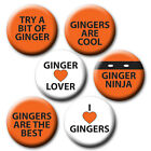 FUN GINGER PIN BADGES/MAGNETS - 25mm, 38mm or 58mm - LOVE THE RED!