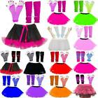 NEON 3 LAYER TUTU SKIRT SET LEG WARMERS FISHNET GLOVES WOMENS 80'S FANCY DRESS