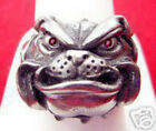 Heavy Bulldog Pug Dog Jewelry Sterling silver .925 ring Ruby eyes Pick Your size