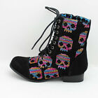 FDW Womens Iron Fist Sugar Hiccup Sequin Color Skulls Black Combat Boots Shoes