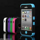 Pen+Hybrid Rugged Rubber Matte Hard Case Cover For iPhone 4G 4S w/ Screen Guard
