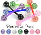 FLEXI PLASTIC / ACRYLIC TONGUE BAR / STUD + UV HEAVILY GLITTERED BALLS  piercing